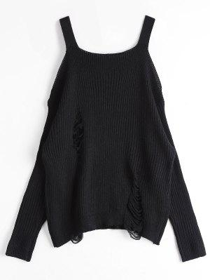 Loose Cold Shoulder Ripped Sweater - Black