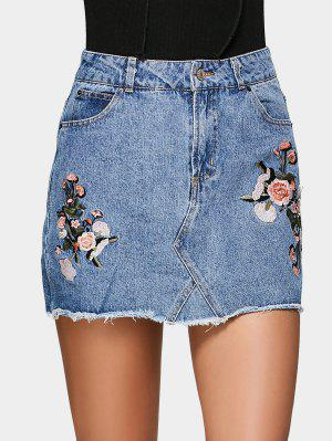 Floral Embroidered Denim A Line Skirt - Denim Blue 38