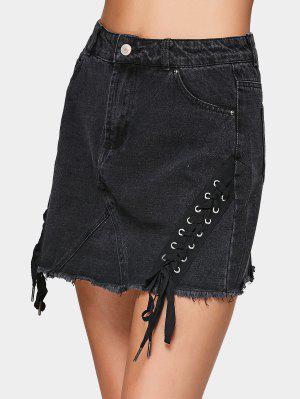 A Line Denim Lace Up Mini Skirt - Black - Black 38