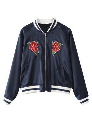 Zip Up Floral Embroidered Sukajan Jacket - Purplish Blue S