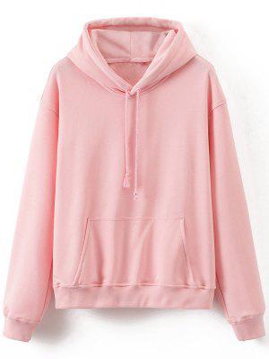 Front Pocket Drop Shoulder Long Hoodie - Pink - Pink S