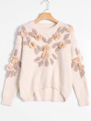 Patched Fuzzy Bowknot Applique Sweater - Off-white - Off-white