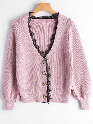 Lace Hem Lantern Sleeve Cardigan - Pink