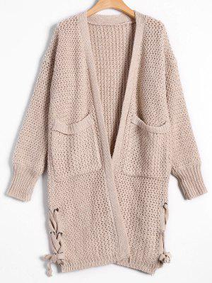 Open Front Lace Up Cardigan With Pockets - Apricot - Apricot