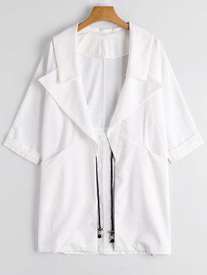 Lapel Open Front Trench Coat - White - White Xl