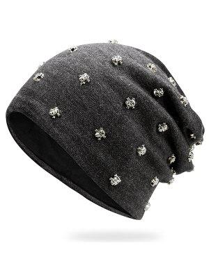 Tiny Skull Rivet Embellished Beanie