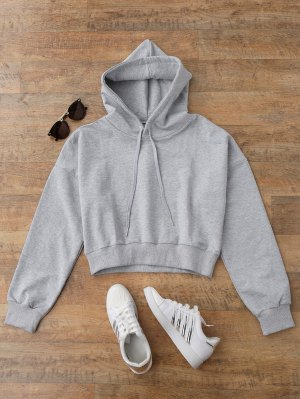 Drop Shoulder Cropped Hoodie