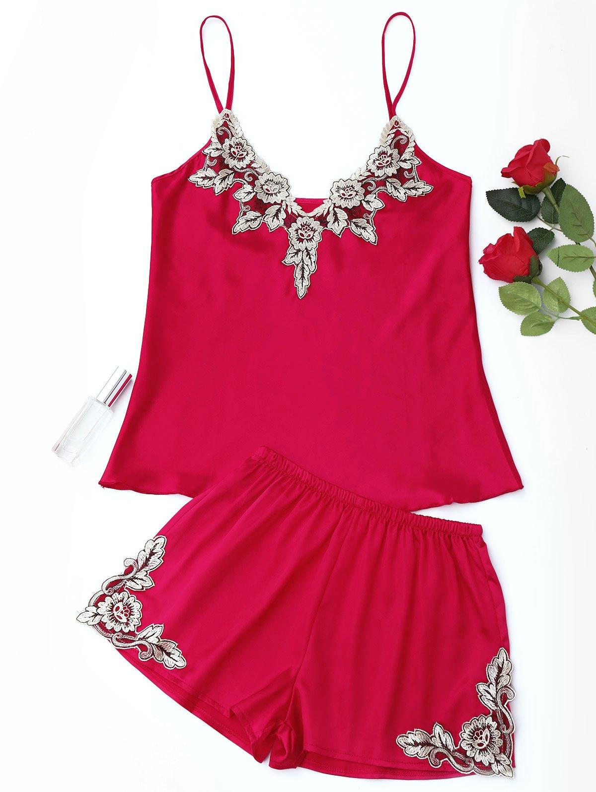 Flower Applique Satin Pajama Set