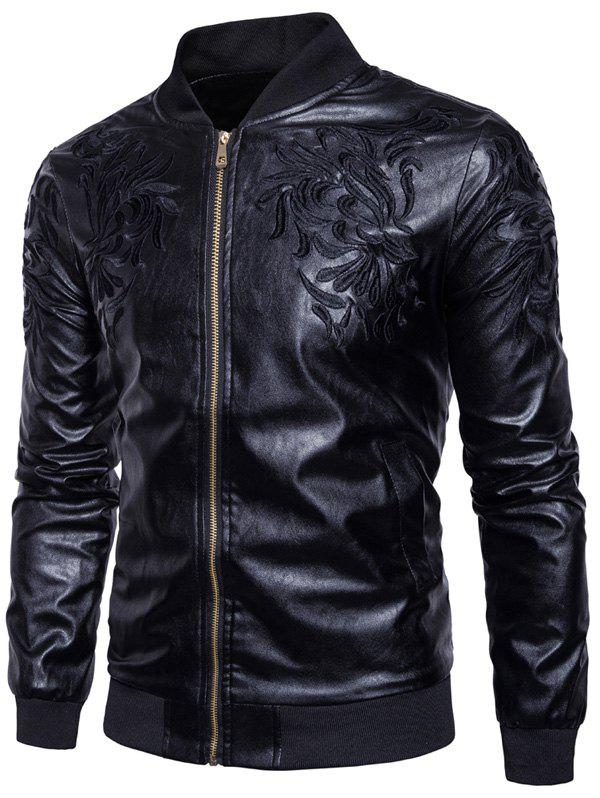 PU Leather Embroidered Zip Up Jacket 224185005