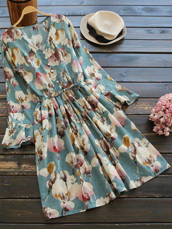 Floral Print Button Embellished Drawstring Dress