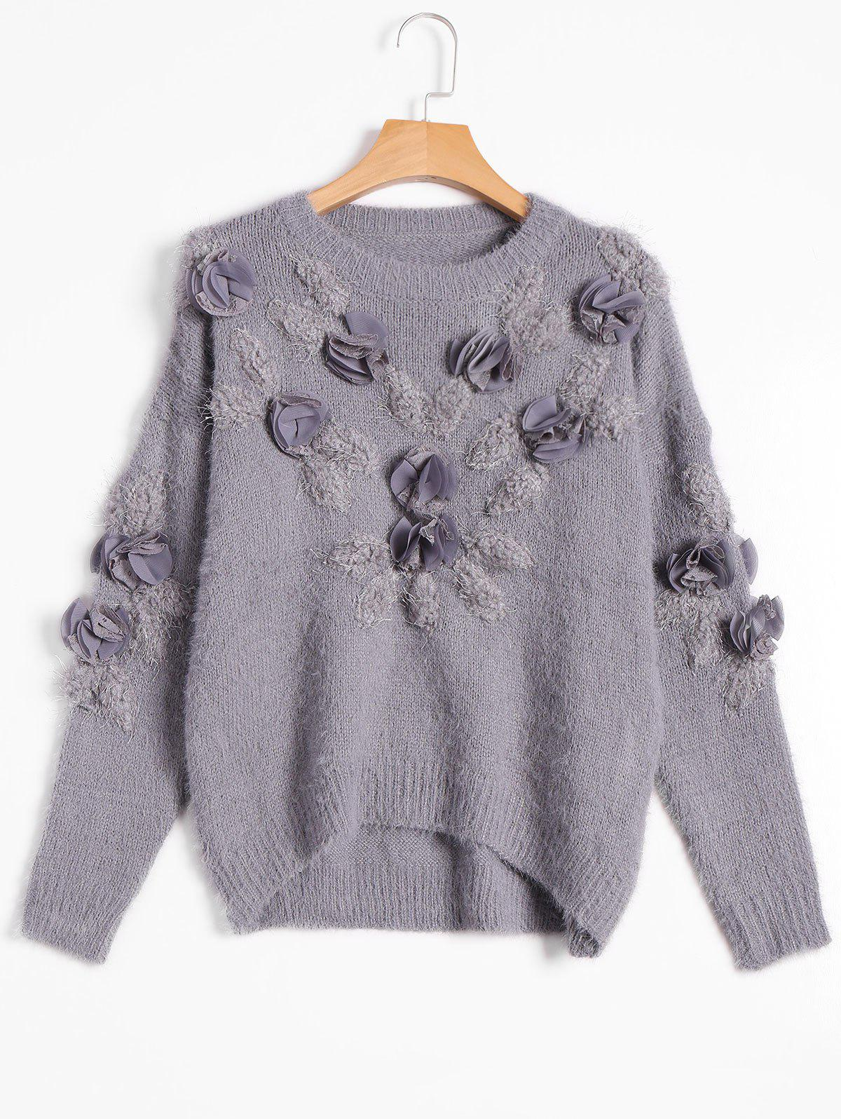 Patched Fuzzy Bowknot Applique Sweater