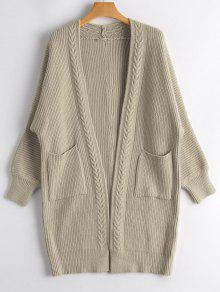 Buy Open Front Long Cardigan Pockets - LIGHT KHAKI ONE SIZE