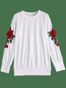 Flojos Sudadera S Florales Blanco Patches Bordados fxwFqnp