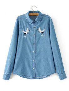 Chemise Brodée Boutonnière - Denim Bleu S