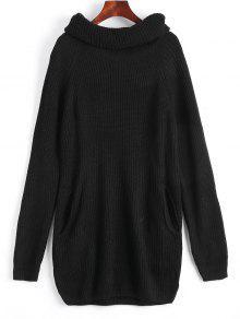 Loose Turtleneck Chunky Sweater - Black