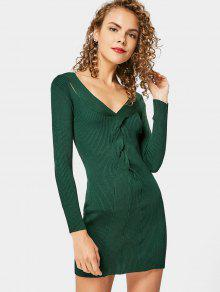 Twisted V Neck Knitted Dress - Blackish Green