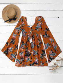 Vestido Floral Tropical Con Mangas De Cintura - Amarillo S