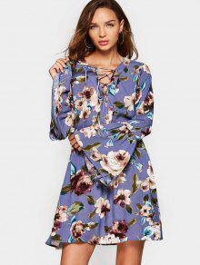 Floral Long Sleeve Lace Up Dress - Purple S