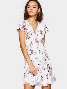 Cap Sleeve Button Up Floral Mini Dress - White M