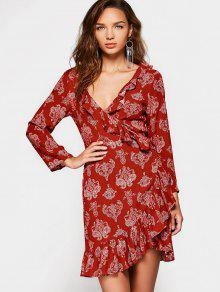 Printed Long Sleeve Wrap Asymmetrical Dress - Red Xl