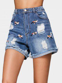Pantalones Cortos Bordados - Denim Blue L