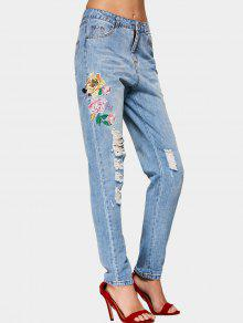 Destroyed Floral Embroidered Pencil Jeans - Denim Blue S