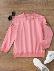 Casual Floral Embroidered Pullover Sweatshirt - Pink S