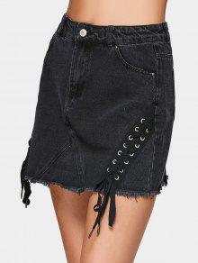 A Line Denim Lace Up Mini Skirt - Black 38