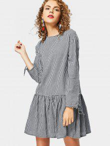 Robe à Carreaux Embellished Long Sleeve Check - Carré S
