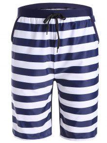 Striped Swim Trunks - Purplish Blue S