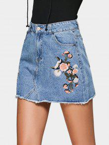bff94beae2 32% OFF] 2019 Floral Embroidered Denim A Line Skirt In DENIM BLUE ...
