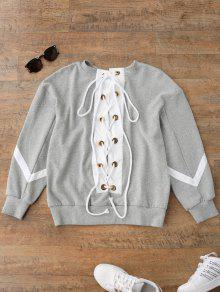Zig Zag Front Lace Up Sweatshirt - Gray S