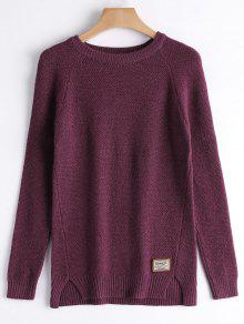 Badge Patched Slit Sweater - Purplish Red
