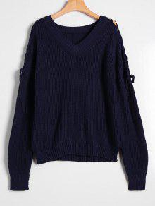 Side Slit Lace Up V Neck Sweater - Purplish Blue
