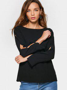Buttoned Fitting Split Sleeve Blouse - Black L