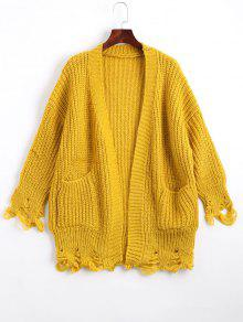 Open Front Ripped Cardigan With Pockets - Yellow