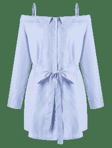 83fe7f9d262 26% OFF  2019 Plus Size Button Up Long Sleeve Dress In BLUE STRIPE ...