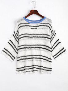 Stripes Sheer Cut Out Knitwear - White