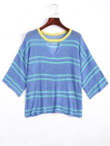 Stripes Sheer Cut Out Knitwear - Blue
