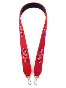 Tiny Floral Embroidery Bag Strap - Red