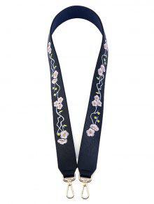 Wintersweet Embroidery PU Bag Strap - Purplish Blue