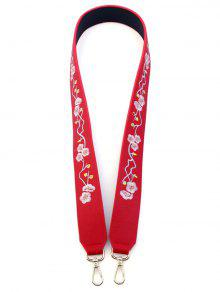 Wintersweet Embroidery PU Bag Strap - Red