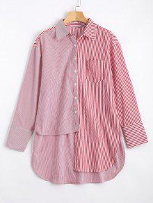 Long Contrasting Stripes Asymmetrical Shirt - Red And White S