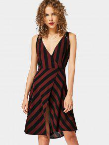 Plunging Neck Slit Striped Dress - Stripe Xl