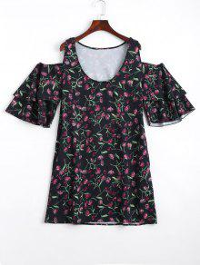 Minúsculas Florales En Capas De Hombro Frío Mini Vestido - Negro S