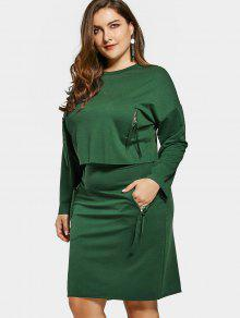 Plus Size Zippered Pocket Top And Pencil Skirt - Green 5xl