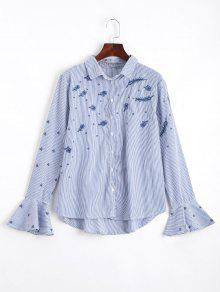 Flare Sleeve Embroidered Stripes Shirt - Stripe S