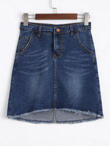 Fringed High Low Mini Denim Skirt - Denim Blue M