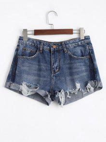 Ripped Cutoffs Denim Shorts - Denim Blue L