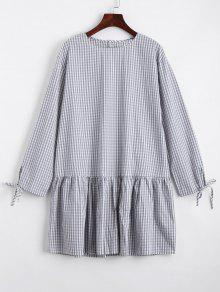 Checked Flounces Casual Shift Dress - Gray S